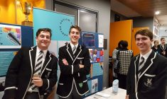 Dominic Young, Phillip Langshaw and Thomas Newham selling raffle tickets at the Asylum Seekers Centre Improv night 2018