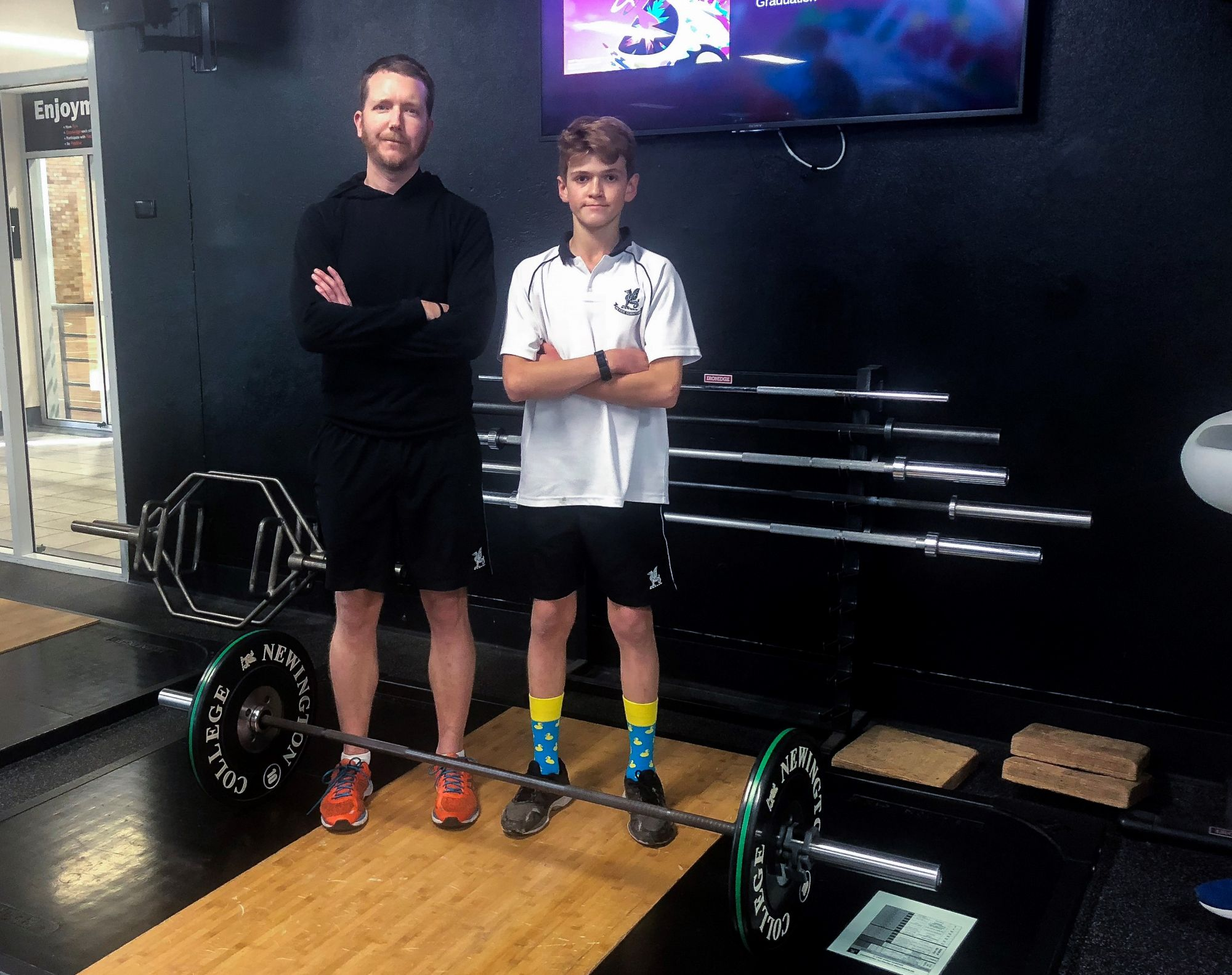 Strength and Conditioning/Wellness manager Mr Cameron Black and Year 7 student Lance Haffenden, strength and conditioning, Newington College gym