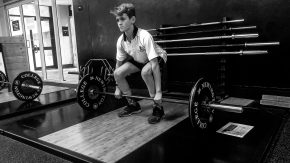Year 7 student Lance Haffenden, strength and conditioning, Newington College gym