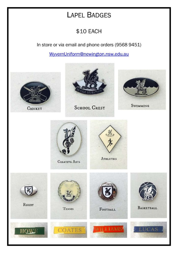 Lapel Badges Available from the uniform shop